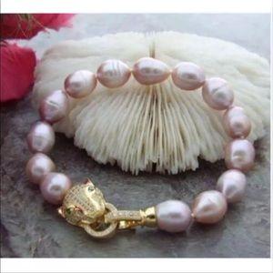 "Jewelry - Lavender Baroque Pearl Bracelet 12-13mm 7.5 -8"""
